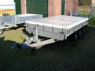 Vlakzeil icm afwaterings ondersteuningsbruggen plateauwagen